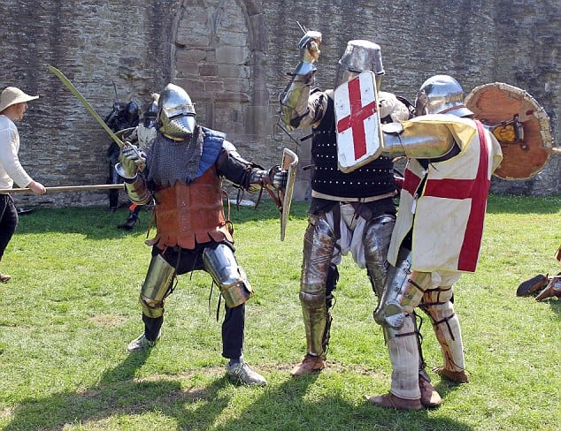Some arguments sound like this. CRASH BANG with no resolution. pix paul lewis (Nth Wales tel 07836 797910) Tom Mitchelson....Full contact Medieval fighting at Ludlow Castle Shropshire.