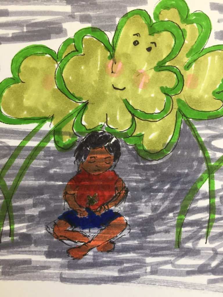 very bad drawing of little girl sitting cross-legged below some gigantic clueless smiling shamrocks.