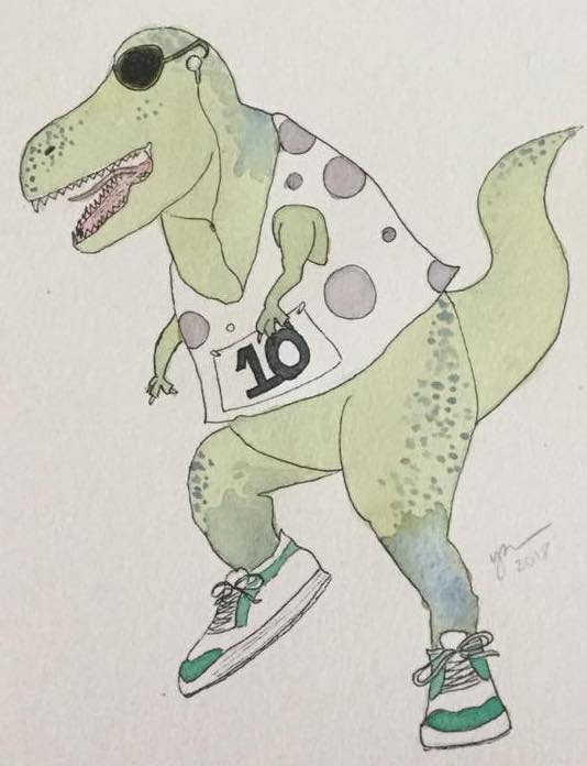Watercolor dinosaur--T Rex?--in sneakers, sunglasses, and a polka-dot racing jersey.