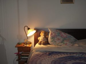 elements of a bedroom: lamp, ratty old bear; books; lint brush; 400-count sheets.