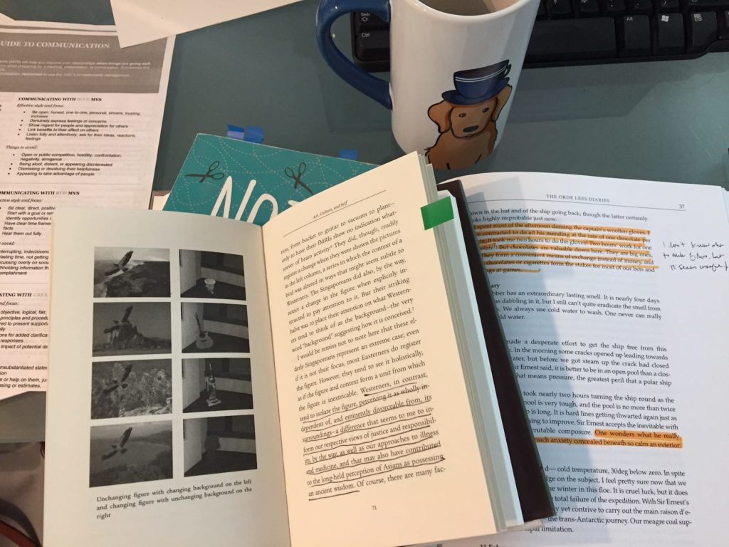 books open to show post-it flags; highlighted sections; ink annotations
