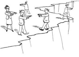 cartoon of businesspeople walking around blindfolded on edge of cliff