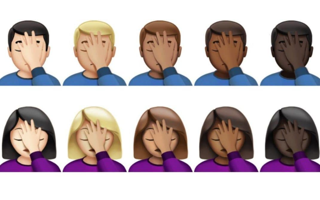 full set of diverse facepalm emojis