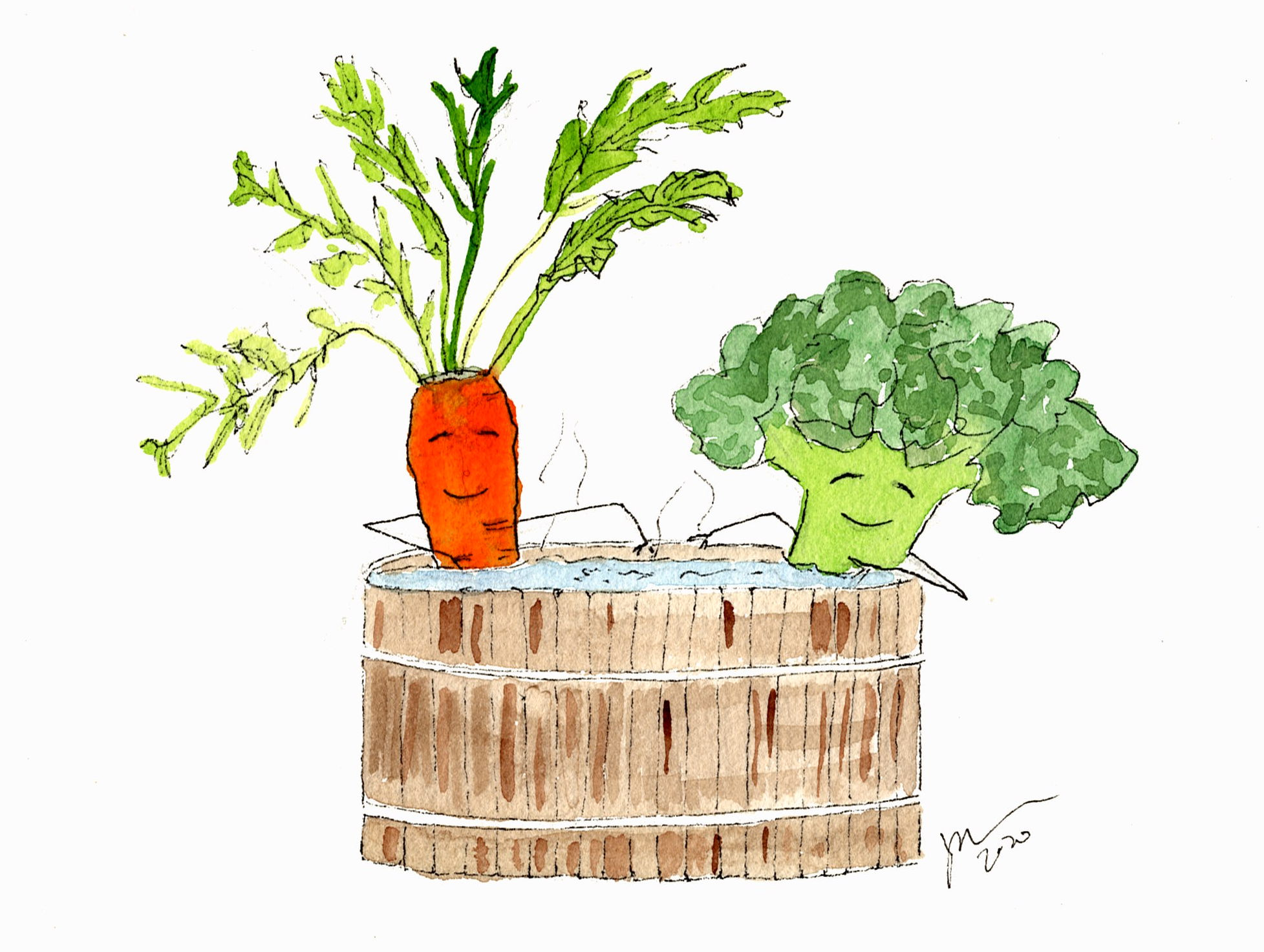 watercolor of carrot and broccoli in a hottub. they are smiling.