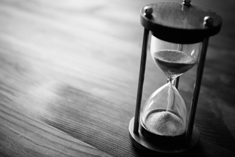 black and white picture of an hourglass
