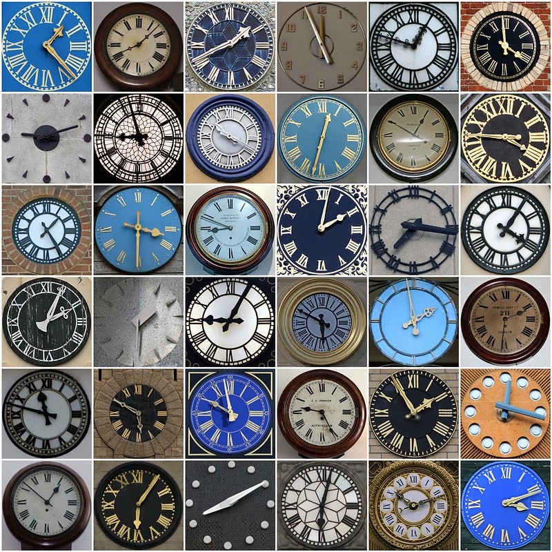 36 clock faces, tiled, most in various shades of blue, grey, or beige.